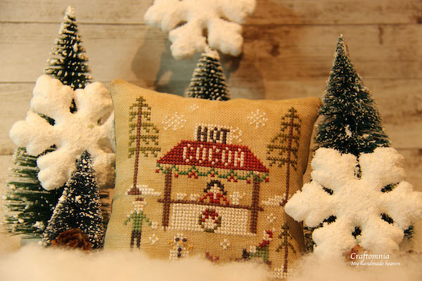 cross stitch Hot Cocoa betoverende verse sneeuwval