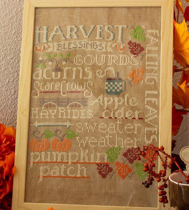 Herfstdecoraties: Let's talk Autumn, een borduurpatroon van Hands on Design